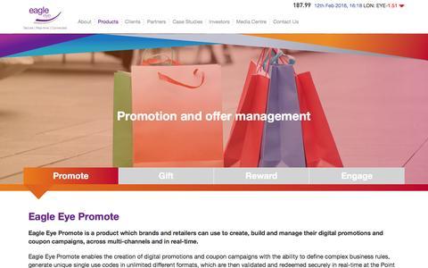Screenshot of Products Page eagleeye.com - Eagle Eye Promote - Digital Promotions - captured Feb. 13, 2016