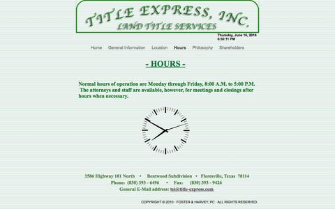 Screenshot of Hours Page title-express.com - Hours - captured June 16, 2016