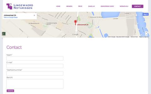 Screenshot of Contact Page lingewaerdnotarissen.nl - Contact - Lingewaerd Notarissen - captured Sept. 30, 2014