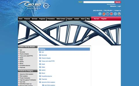 Screenshot of Site Map Page mobio.com - Site Map - Bead Beating and Mini Plasmid Prep - captured Oct. 4, 2014