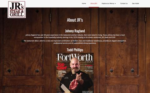 Screenshot of About Page jrssteaks.com - About JR's - Jr. Steak & Grill - captured Oct. 1, 2017