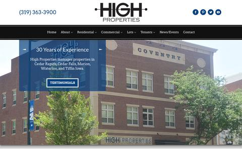Screenshot of Home Page highpropertymanagement.com - Home | High Property Management - Cedar Rapids, Iowa - captured July 19, 2018