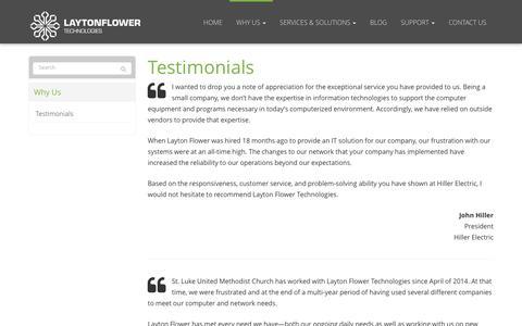 Screenshot of Testimonials Page laytonflower.com - Testimonials - Council Bluffs, IA, Omaha, Bellevue, NE | Layton Flower Technologies, LLC. - captured Nov. 4, 2016