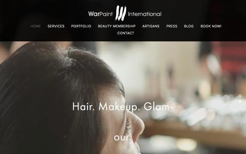 Screenshot of Home Page warpaintinternational.com - Warpaint International Beauty Agency - captured Sept. 21, 2015