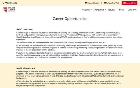 Screenshot of Jobs Page ccnn.edu - Career Opportunities - CCNN - captured Sept. 27, 2018