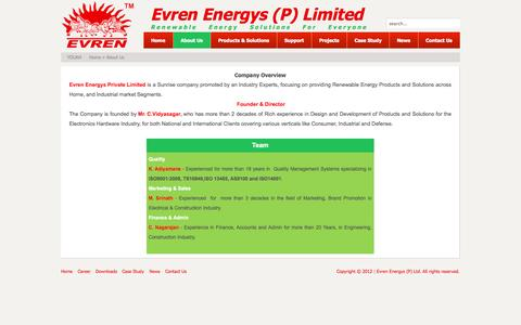 Screenshot of About Page evrenenergys.com - Company Overview - captured Oct. 3, 2014