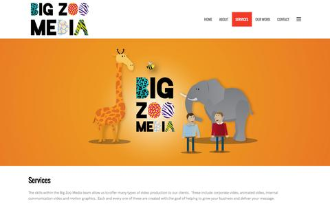 Screenshot of Services Page bigzoo.co.uk - Big Zoo Media | Services - Big Zoo Media - captured Feb. 7, 2016