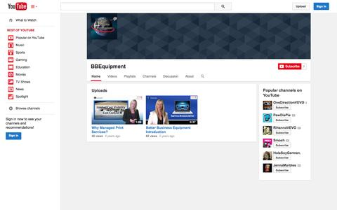 Screenshot of YouTube Page youtube.com - BBEquipment  - YouTube - captured Oct. 23, 2014