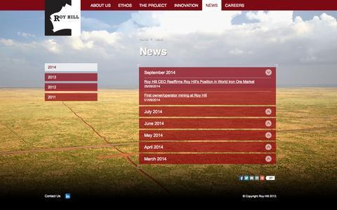 Screenshot of Press Page royhill.com.au - News | Roy Hill - captured Sept. 30, 2014
