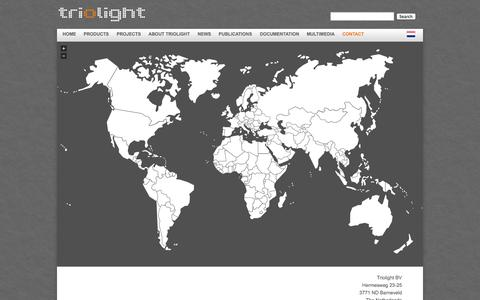Screenshot of Contact Page triolight.com - Triolight - Manufacturer of liniLED® | LED lights - captured Oct. 8, 2014