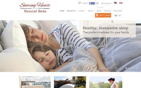 Screenshot of Home Page soaringheart.com - Soaring Heart Natural Bed Company - Welcome - captured Feb. 15, 2016