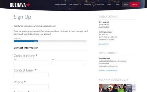Screenshot of Signup Page kochava.com - Sign Up - Kochava - captured Sept. 19, 2014
