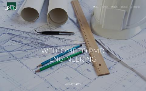 Screenshot of Home Page pmdeng.com - PMD ENGINEERING - Electrical Construction Documents - captured Sept. 26, 2018