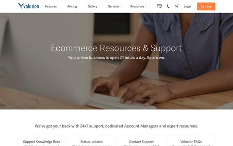 Screenshot of Support Page volusion.com - Ecommerce Support from Volusion - captured March 18, 2016