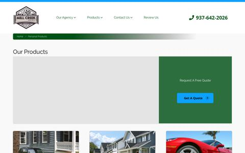 Screenshot of Products Page millcreekinsurance.com - Personal Products - captured Oct. 19, 2018