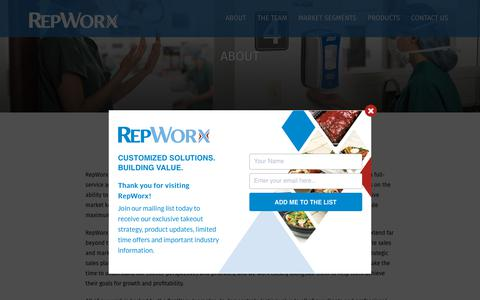 Screenshot of About Page repworx.com - Foodservice Products | Facility Maintenance Products | RepWorx - captured Oct. 20, 2018