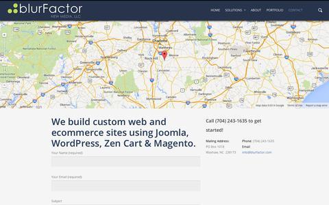 Screenshot of Contact Page blurfactor.com - 704-243-1635 - blurFactor - Charlotte, NC WordPress Designer - captured Oct. 5, 2014