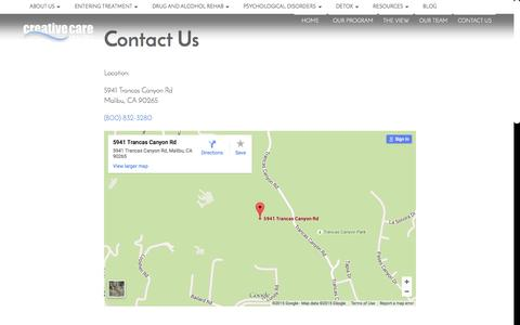Screenshot of Contact Page creativecareinc.com - Contact Creative Care located in Malibu CA - captured July 24, 2015