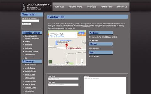 Screenshot of Contact Page comananderson.com - Coman & Anderson. Contact Us - captured Nov. 2, 2014