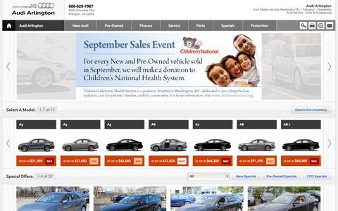 Screenshot of Home Page Contact Page Menu Page Hours Page audiofarlington.com - Audi Arlington, Arlington VA - captured Sept. 19, 2014