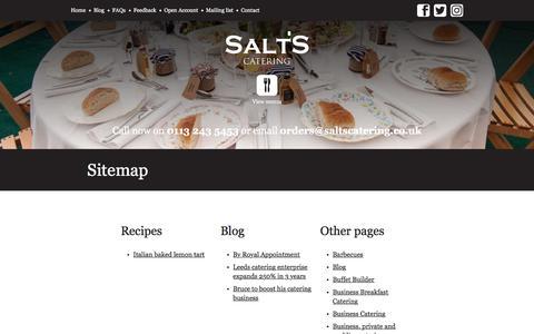 Screenshot of Site Map Page saltscatering.co.uk - Sitemap - Salt's Catering - captured July 27, 2018