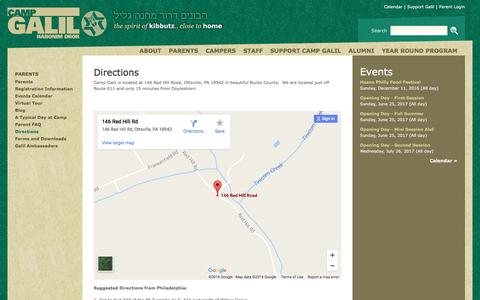 Screenshot of Maps & Directions Page campgalil.org - Directions | Camp Galil - captured Oct. 17, 2016