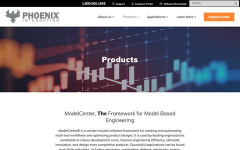 Screenshot of Products Page phoenix-int.com - Engineering Software Products | Model Based Engineering | Phoenix Integration - captured Sept. 28, 2018