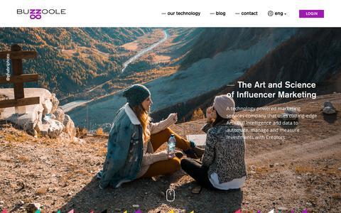 Screenshot of Home Page buzzoole.com - Influencer Marketing Platform          Buzzoole - captured June 1, 2018