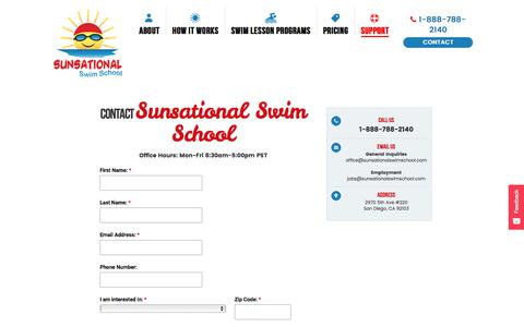 Screenshot of Contact Page sunsationalswimschool.com - Contact Us 1-888-788-2140 - captured Sept. 23, 2018