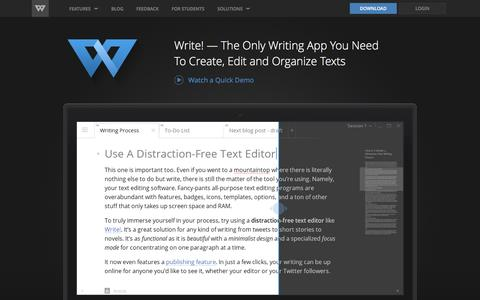 Screenshot of Home Page wri.tt - Write! - Distraction-Free Text Editor for Writing Productivity - captured Feb. 14, 2017
