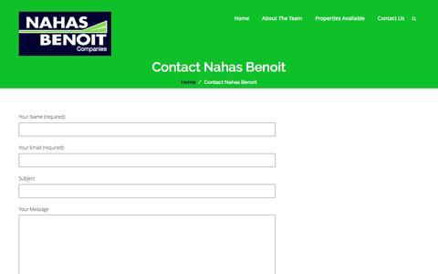 Screenshot of Contact Page nahasbenoit.com - Contact Nahas Benoit | Nahas Benoit Company - captured Nov. 28, 2016