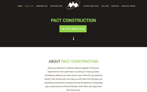 Screenshot of About Page pact-construction.com - About Pact Construction: Remodeling Pigeon Forge, Sevierville and Jefferson County - captured Nov. 27, 2018