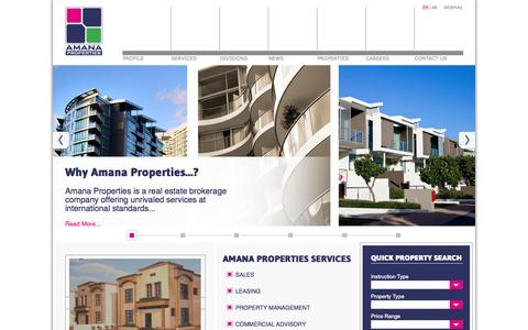 Screenshot of Home Page amana-properties.com - Amana Properties | Dammam, Saudi Arabia - Realestate For Sale, Rent, or Lease - captured Oct. 4, 2014