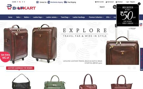 Screenshot of Home Page beltkart.com - Buy Leather Laptop Bags, Jackets, Handbags & Belts Online | BeltKart - captured Feb. 19, 2016