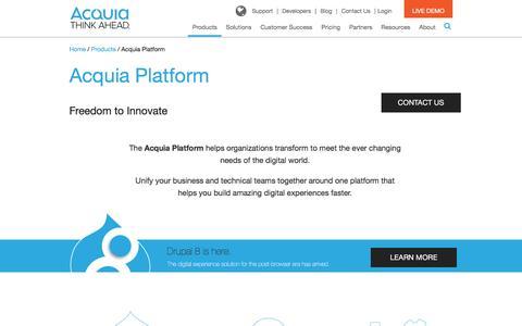 Screenshot of Products Page acquia.com - Acquia Platform | Acquia - captured Aug. 11, 2016