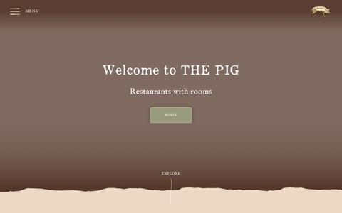 Screenshot of Home Page thepighotel.com - The Pig - Restaurants with Rooms - captured March 27, 2019