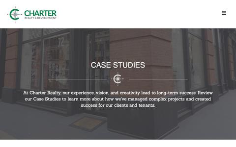 Screenshot of Case Studies Page chartweb.com - Case Studies | Charter Realty & Development Corp. - captured Sept. 27, 2018