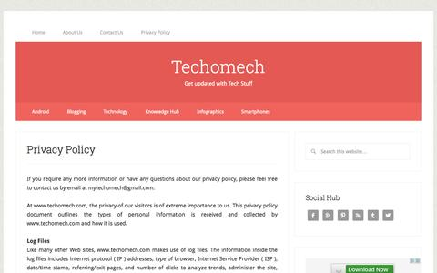 Screenshot of Privacy Page techomech.com - Privacy Policy - Techomech - captured Oct. 30, 2014