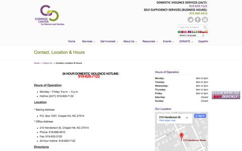 Screenshot of Maps & Directions Page Hours Page compassctr.org - Contact, Location & Hours | Compass Center | | Chapel Hill , North Carolina | Helping individuals and families build stable lives by increasing self-sufficiency and preventing domestic violence. - captured Aug. 16, 2017