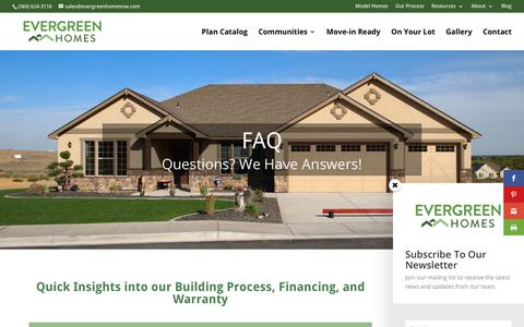 Screenshot of FAQ Page evergreenhomesnw.com - Frequently Asked Questions | Evergreen Homes | Vancouver WA - captured Dec. 17, 2018