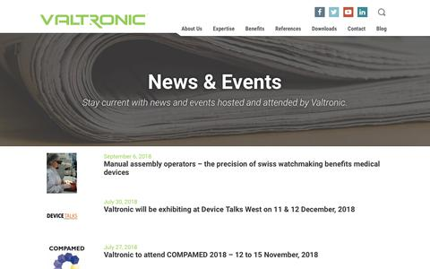 Screenshot of Press Page valtronic.com - News Archive - Valtronic |  Valtronic - captured Sept. 21, 2018