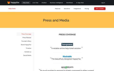 Screenshot of Press Page happyfox.com - Press Releases & News Coverage - HappyFox - captured Nov. 2, 2019