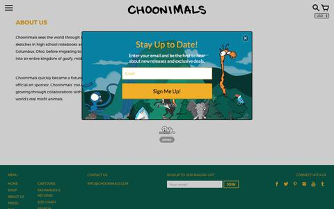 Screenshot of About Page choonimals.com - About Us – CHOONIMALS - captured July 29, 2017