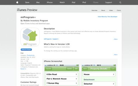 Screenshot of iOS App Page apple.com - miProgram+ on the App Store on iTunes - captured Oct. 26, 2014