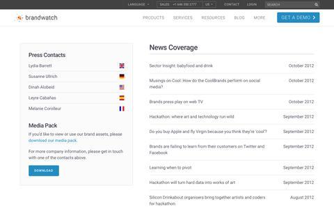 Screenshot of Press Page brandwatch.com - News Coverage   159/159   Brandwatch - captured Oct. 20, 2017