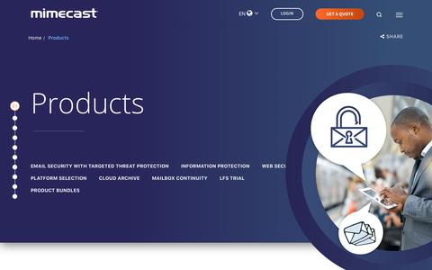 Screenshot of Products Page mimecast.com - Email Security, Archiving and Continuity Products | Mimecast - captured Nov. 1, 2018