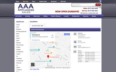 Screenshot of Contact Page Locations Page aaaappliancesales.com - Contact AAA Appliances in Massachusetts - captured July 7, 2018