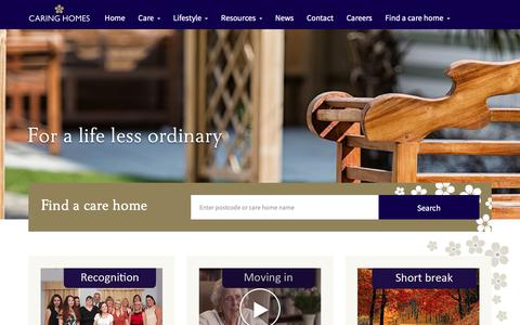 Screenshot of Home Page caringhomes.org - Care Homes & Nursing Homes in the UK | Caring Homes - captured Sept. 27, 2018