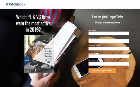 Screenshot of Landing Page pitchbook.com - PitchBook 2016 Annual Global League Tables - captured April 20, 2017