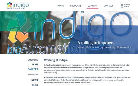 Screenshot of Jobs Page indigobio.com - Careers   Indigo BioAutomation - captured Jan. 18, 2018
